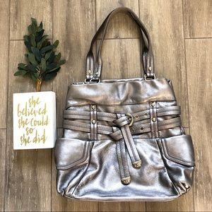 b. Makowsky Metallic Buckle Hobo Bag Tote Silver